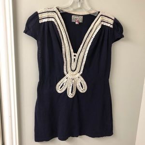 Anthropologie Baraschi Navy Tunic w/cream detail